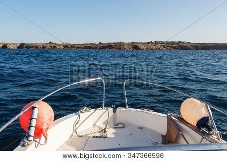 Prow Of A Boat In Front Of The Coast In Brittany