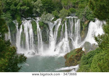 Beautiful Look At Kravice Waterfalls On Trebizat River, Bosnia