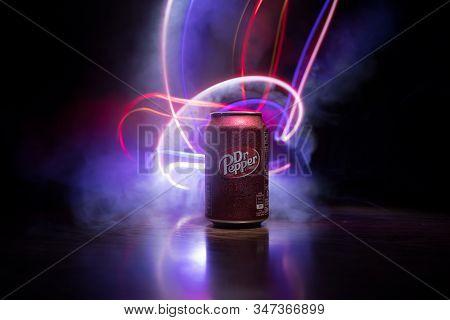 Baku, Azerbaİjan - September 15, 2019: Can Of Dr Pepper Soft Drink On Dark Toned Foggy Background Wi