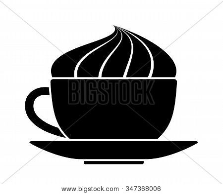Vector Cup Of Coffee With Whipped Cream Isolated On White Background