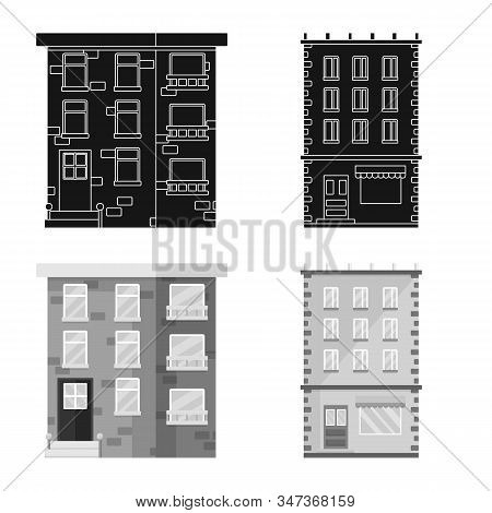 Vector Illustration Of Municipal And Center Symbol. Set Of Municipal And Estate Stock Vector Illustr