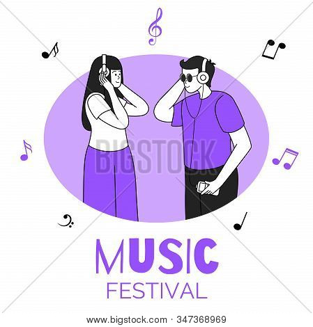 Friends Listening To Music, Young Couple In Circular Frame Vector Illustration. Music Festival, Part