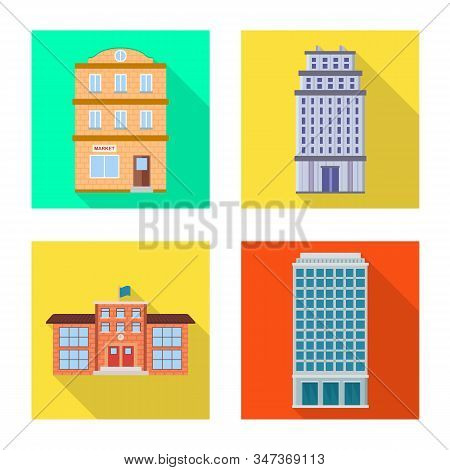 Isolated Object Of Municipal And Center Symbol. Set Of Municipal And Estate Stock Vector Illustratio