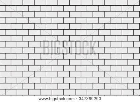 Bathroom Tiles Texture Seamless Background. White Tile Illustration. Brick Layout. Vector Bathroom W