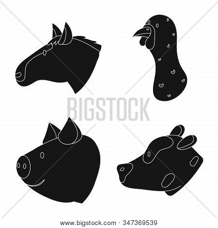 Vector Illustration Of Ranch And Organic Symbol. Collection Of Ranch And Head Stock Vector Illustrat