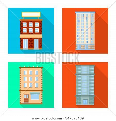 Vector Illustration Of Municipal And Center Icon. Collection Of Municipal And Estate Stock Symbol Fo