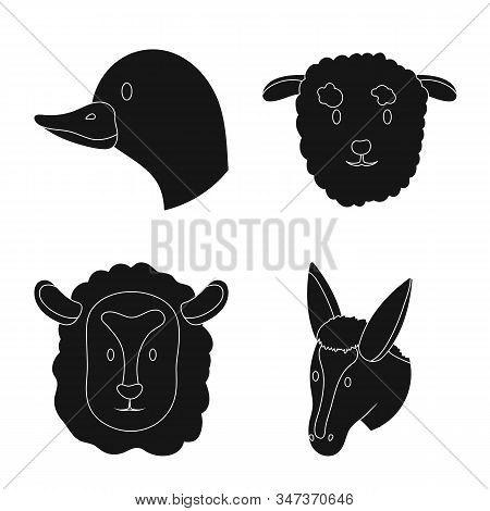 Isolated Object Of Ranch And Organic Logo. Set Of Ranch And Head Stock Vector Illustration.
