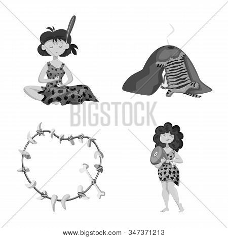 Isolated Object Of Survival And History Symbol. Set Of Survival And Prehistory Stock Vector Illustra