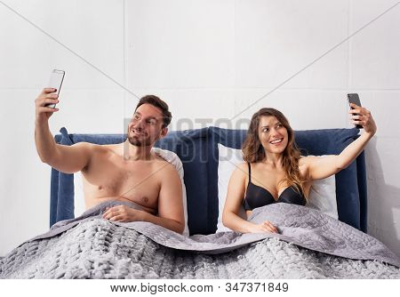 Both Girlfriend And Boyfriends Are Chatting With Others. Infidelity Concept