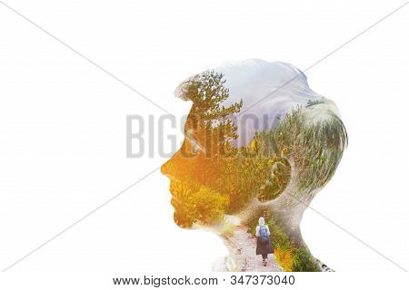 Adventure Discovery, Human Activity, Dream Concept Double Multiply Exposure Beautiful Girl Head Face