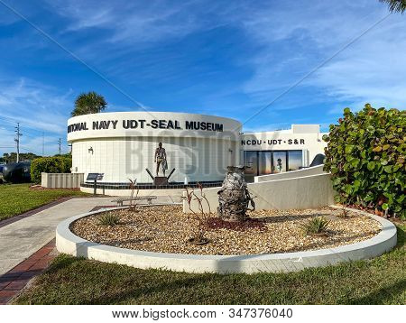 Ft. Pierce,fl/usa-1/27/20: The Exterior Of The Navy Seal Museum Building In Ft. Pierce, Florida.  Wh