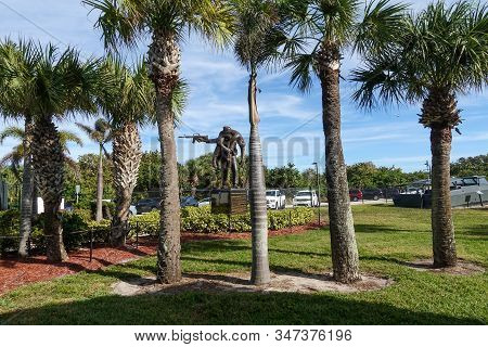 Ft. Pierce,fl/usa-1/27/20: A Navy Seals Statue That Respresenting Their Rescue Efforts On Sea, Air A