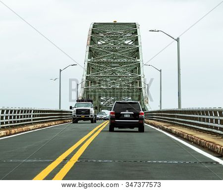West Islip, New York, Usa - 11 October 2019: Cars Traveling On The Robert Moses Bridge Going To And