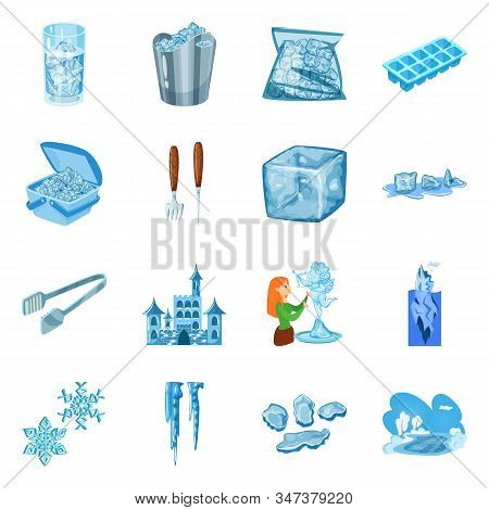 Vector Design Of Frost And Water Logo. Collection Of Frost And Wet Stock Symbol For Web.