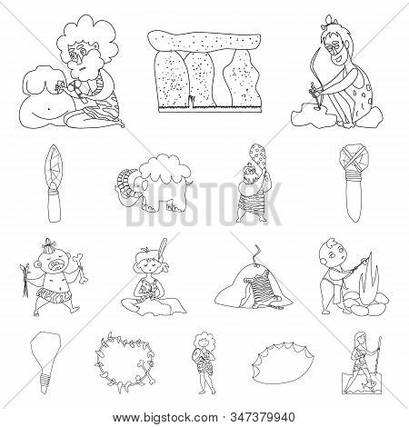 Vector Illustration Of Primitive And Archeology Icon. Collection Of Primitive And History Vector Ico