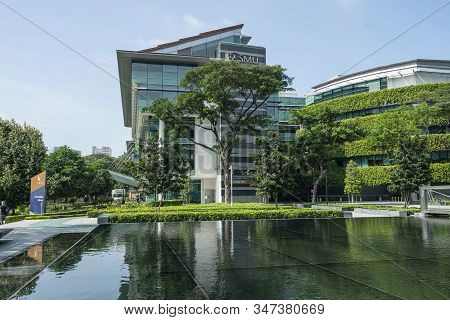 Singapore.  January 2020.  External View Of  Li Ka Shing Library Building Of Singapore Management Un