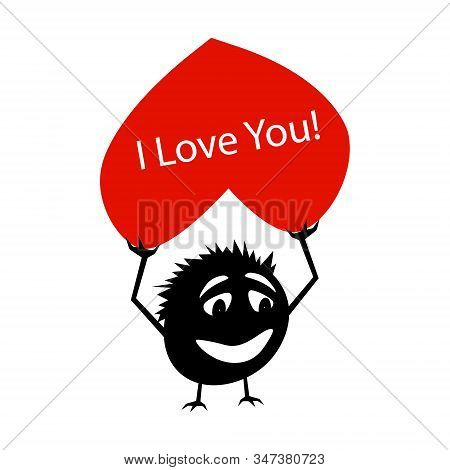 Silhouette Of A Funny Little Creature With A Red Heart In His Hands Above His Head. On The Heart Of