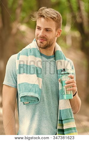Obey Your Thirst. Thirsty Sportsman. Bearded Man Holding Bottle Of Drinking Water To Quench His Thir