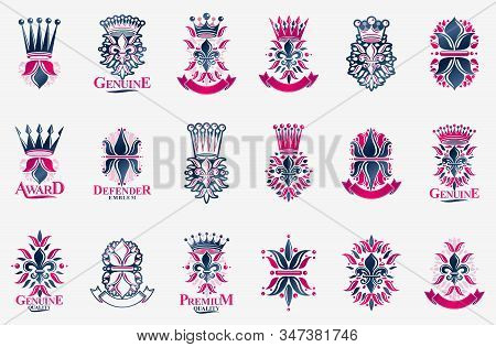 Heraldic Coat Of Arms With Lily Flower And Crowns Symbol Vector Big Set, Vintage Antique Heraldic Ba