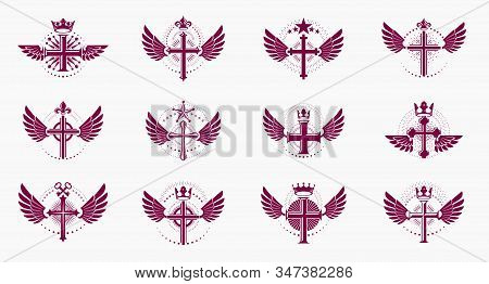 Religion Crosses Logos Big Vector Set, Vintage Heraldic Christian Emblems Collection, Classic Style