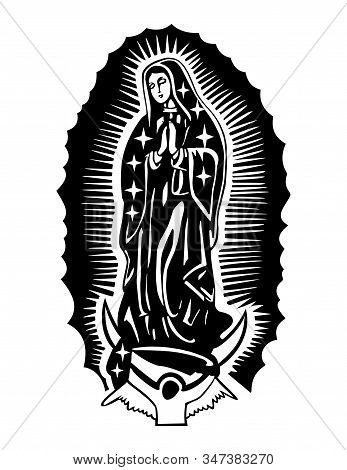 Abstract Virgin Guadalupe On A White Background