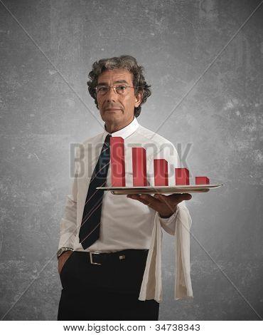 Businessman And Negative Statistics