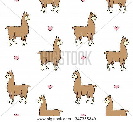 Vector Seamless Pattern Of Colored Hand Drawn Doodle Sketch Llama Alpaca And Hearts Isolated On Whit