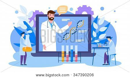 Online Education Of Scientists Vector Illustration Banner Isolated. Lecturer Teaches From Laptop Scr