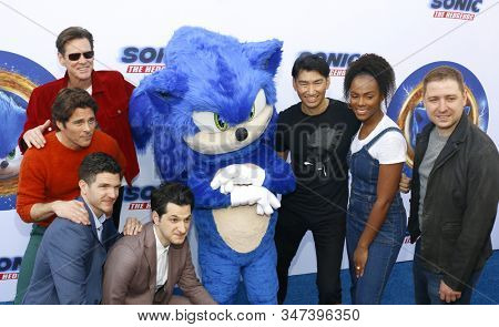 Haruki Satomi, James Marsden, Ben Schwartz, Jim Carrey, Tika Sumpter, Jeff Fowler and Toby Ascher at the premiere of 'Sonic the Hedgehog' held at Paramount Theatre in Hollywood USA on January 25, 2020