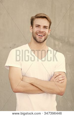 Ideal Traits That Make Man Physically Attractive. Bearded Guy Casual Style Close Up. Charming Smile.