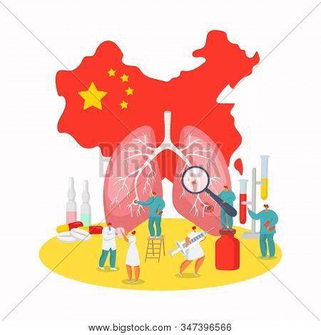 Coronavirus China Wuhan Epidemic Disease Vector Illustration. Virus On China Map, Flu People In Mask