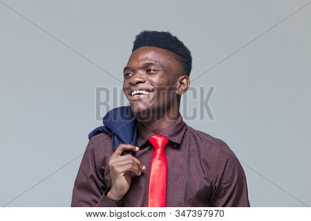 Smile, Laugh. Young Black Man. Portrait Successful Smiling Cheerful African American Businessman Exe