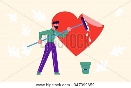 Metaphor Of Love, Locked Heart, Heart-free, Betrayal And Relationship. Man Clean A Heart From Lies A