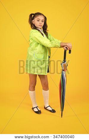 Take The Accessory And Let It Rain. Small Child Holding Colorful Umbrella Rain Accessory. Little Gir