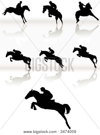 Silhouettes Of Horse Racing