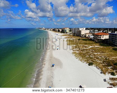 The Aerial View Of The Shore And Waterfront Resorts Near Madeira Beach, Florida, U.s.a