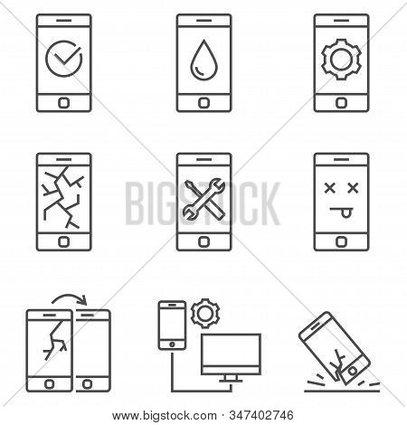 Set Of Mobile Service And Repare Line Vector Icons. Outline Style