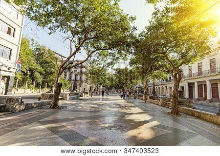 November 27, 2019, Havana, Cuba. Tourists Are Walking On The Street Of Old Havana In Havana, Cuba. M