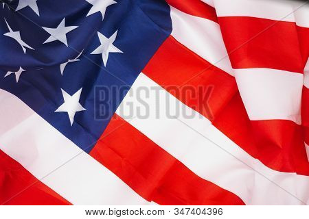 Us American Flag On White Background. For Usa Memorial Day,  Memorial Day, Presidents Day, Veterans