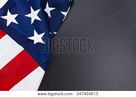 Us American Flag On Black Background. For Usa Memorial Day,  Memorial Day, Presidents Day, Veterans