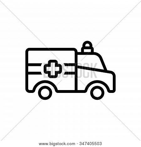 Black Line Icon For Ambulance Emergencies Exigency Necessity Rescue Transportation Paramedic Medical