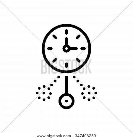 Black Line Icon For Oscillate Shudder Vibrancy Shaking Dangle Clock