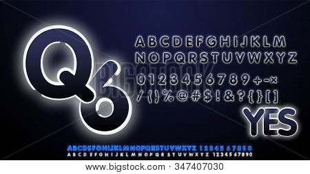White Neon Light Alphabet Vector Font. Type Letters, Numbers And Punctuation Marks. Neon Tube Letter