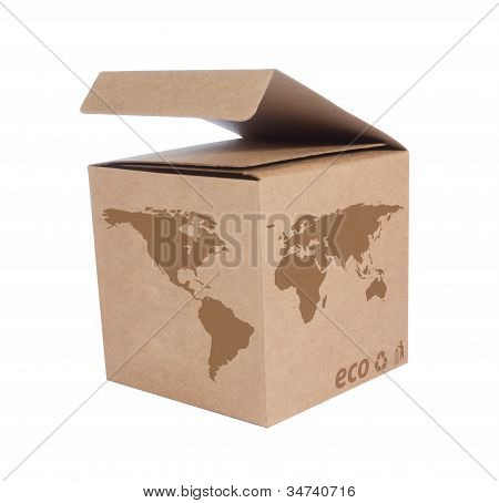 Cardboard Box With Icon Ecological Map World