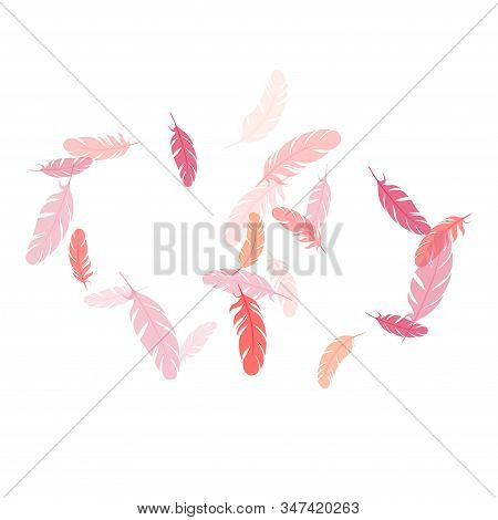 Tender Pink Flamingo Feathers Vector Background. Quill Plumelet Silhouettes Illustration. Plumage Tr