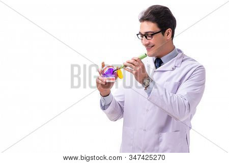 Young male doctor stomatologist isolated on white