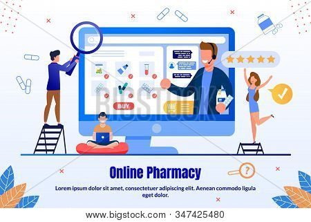 Online Pharmacy Trendy Flat Vector Ad Banner, Promo Poster Template. Female, Male Customers Searchin