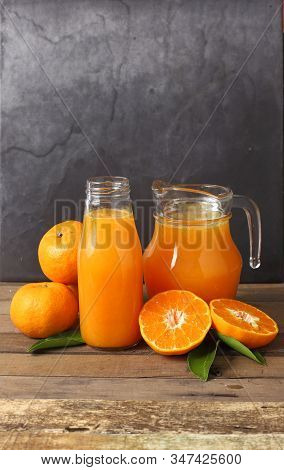Close Up Orange Juice And Fruit For Good Health