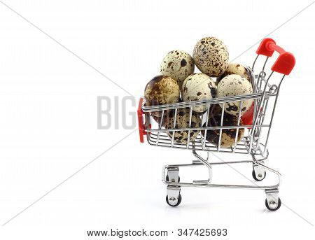 Many Quail Eggs In Red Shopping Cart