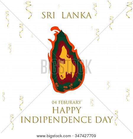 Sri Lanka Detailed Map With Flag Colors And Important Monuments Of Country Vector Illustration Of Ha